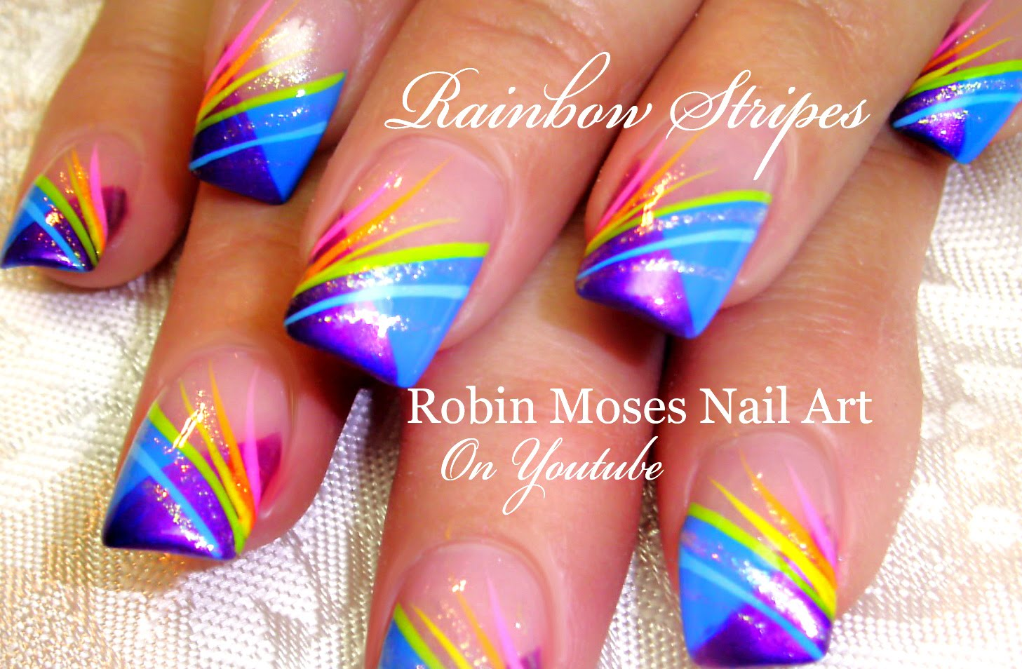 Nail Art Striping Tutorial Rainbow Stripe Tips Nails Design Nail